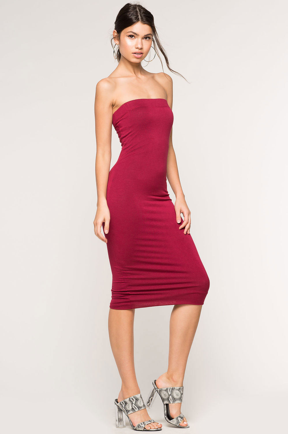 Women's strapless bodycon midi jersey casual dress in burgundy wine