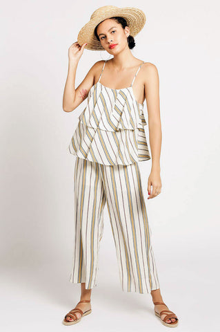 Women's sleeveless cream stripe tiered cami casual jumpsuit