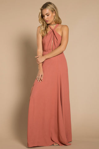 Women's sleeveless twisted halteneck long maxi dress in pink red rouge party day cute dress for summer with slit.