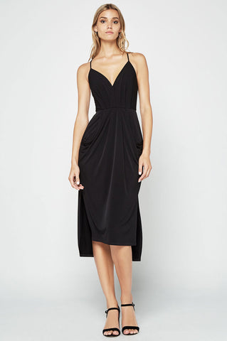 Women's sleeveless spaghetti strap v neck little black dress with suplice drape front. Midi party lbd for going out.