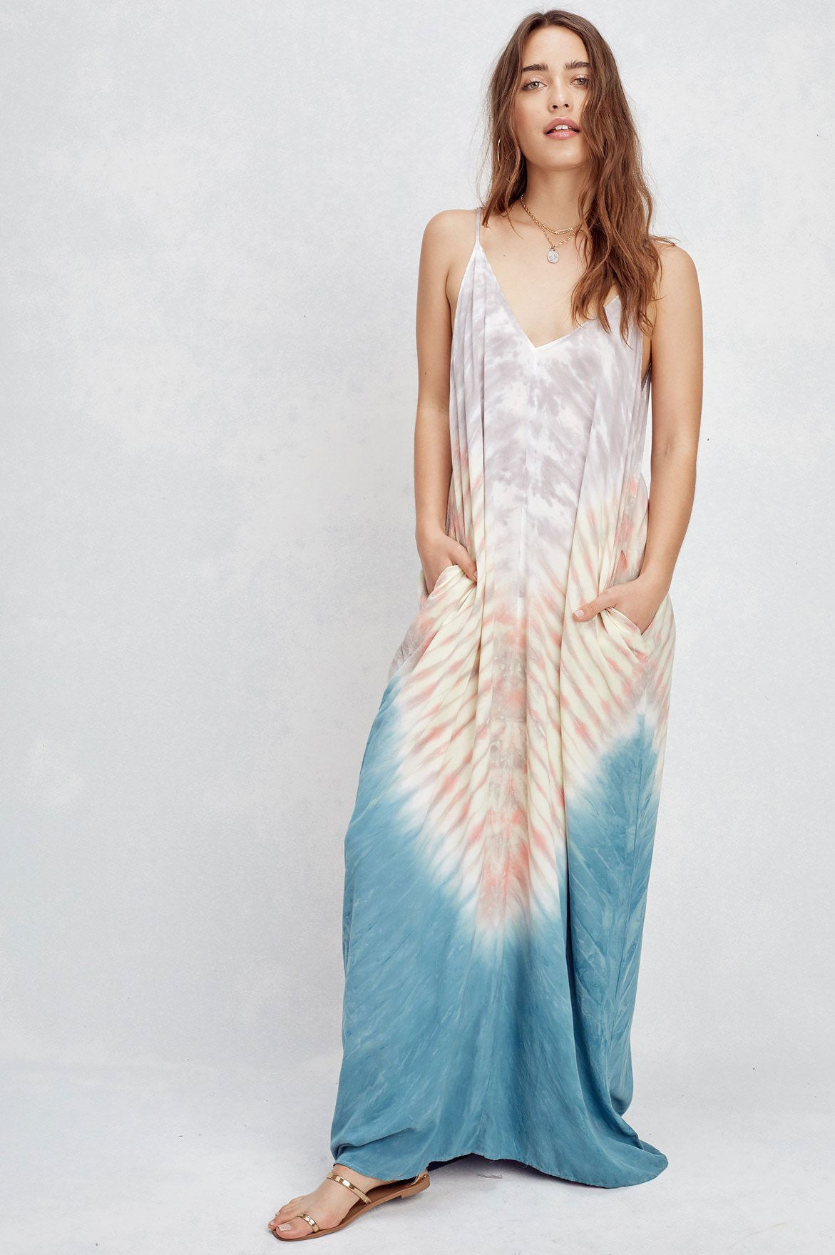 Women's sleeveless v-neck blue tie dye long maxi dress casual sundress