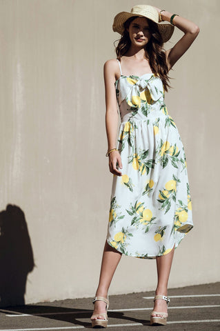 Women's sleeveless yellow and green floral print cami a-line casual midi day dress
