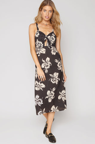 women's sleevelss black floral print casual midi dress