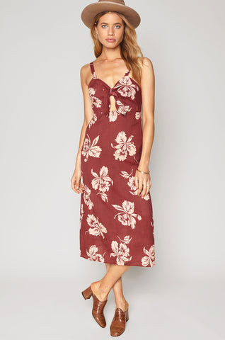 women's sleevelss burgundy floral print casual midi dress