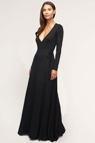 Women's long sleeve wrap maxi dress in black jersey