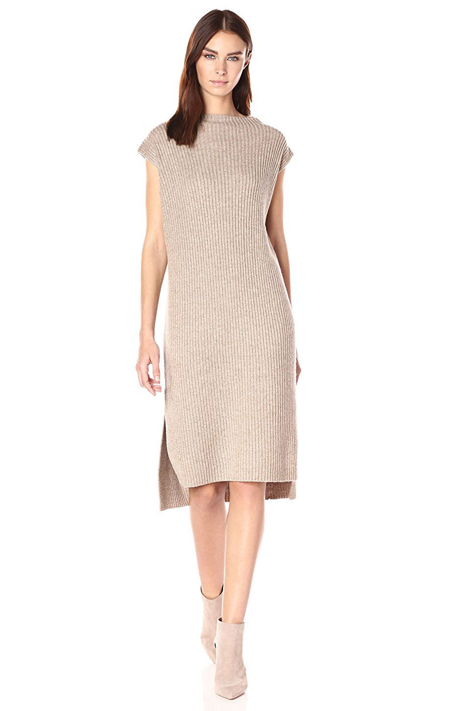 Womens cute fall outfits & sweater dresses: Sleeveless midi sweater dress. Fall dresses. Winter wear. cream mocha