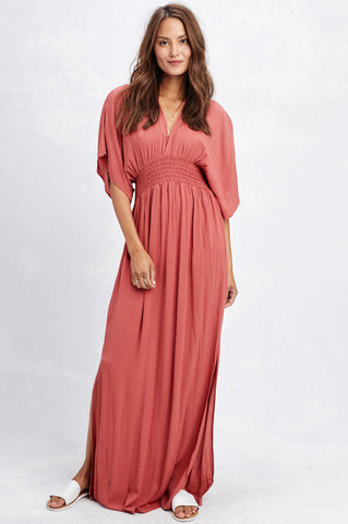 Women's cute summer and fall outfit. Long casual maxi dress with 3/4 elbow length mid sleeves, draped cute dress for vacation.