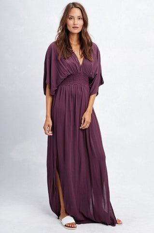 Women's cute summer and fall outfit. Long casual maxi dress with 3/4 elbow length mid sleeves, draped cute dress for vacation. purple grape