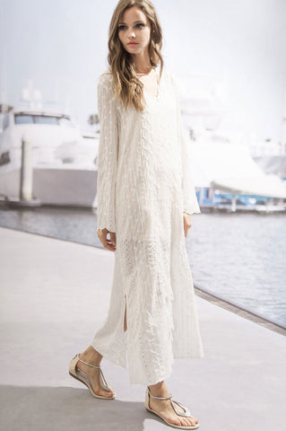 Women's long sleeve embroidery embellished v neck casual maxi dress oversized