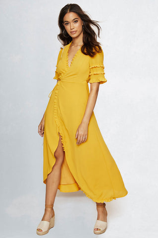 women's short sleeve canary yellow midi wrap dress for going out party dress.