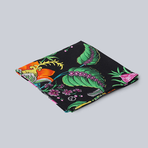 Damien Basile - Black Floral Pocket Square