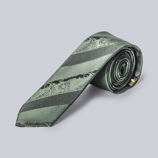 Imani Uomo- Green Striped Microfiber Tie