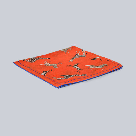 Seaward & Stearn - Orange Geometric Pocket Square