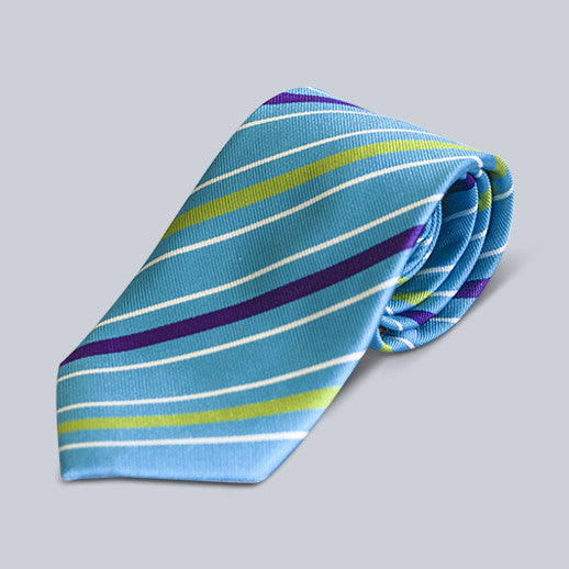 True Forum - Blue and Green Striped Tie
