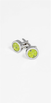 Black Lapel Green Silk Cufflinks