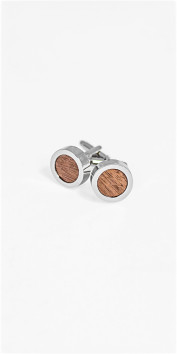 Black Lapel Wood Grain Inner Circle Cufflinks