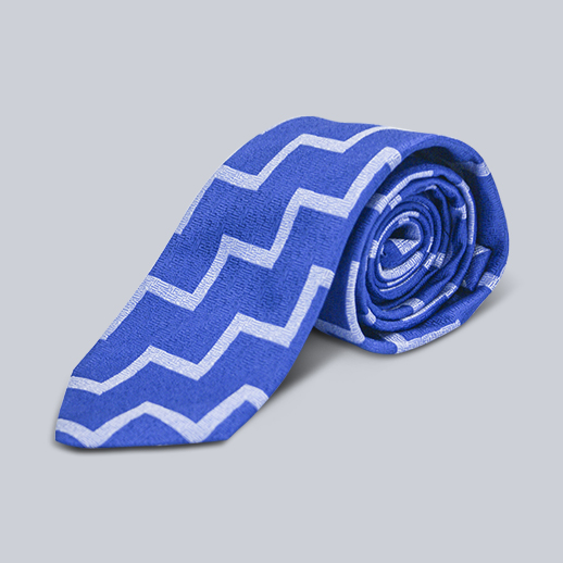Seaward & Stearn Blue and White Geometric Tie