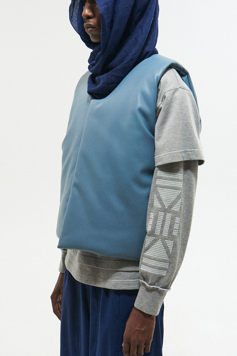 GUARD PUFF SYNTHETIC LEATHER VEST / L-BLUE