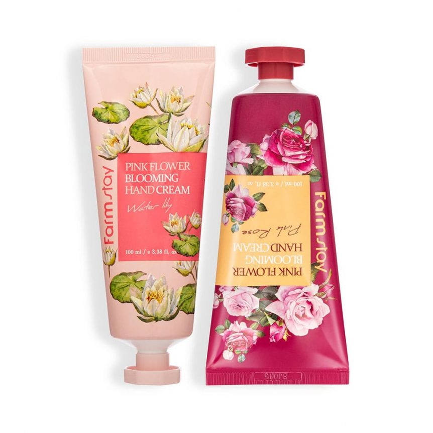 FARMSTAY PINK FLOWER BLOOMING HAND CREAM 2SET(WATER LILY, PINK ROSE)