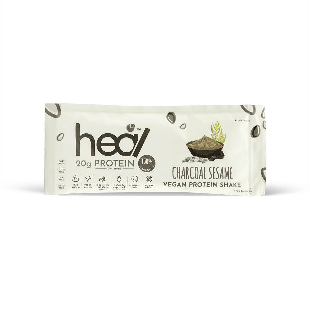 Heal Charcoal Sesame Vegan Protein Shake, Single Satchet - RE:HEALTH