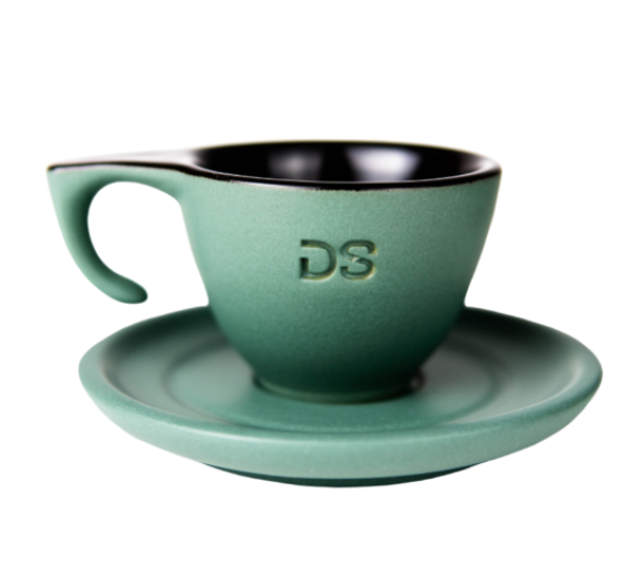 "Ceramic green ""DS"" - Cup and Plate - Dropshot Coffee"