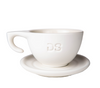 "Ceramic white ""DS"" - Cup and Plate - Dropshot Coffee"