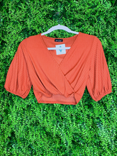 Load image into Gallery viewer, orange crop top with tie shirt blouse | fall fashion | shop women's clothing clothes apparel gifts accessories jewelry online or in store at boerne la te da boutique | a favorite of locals and san antonio visitors too Edit alt text