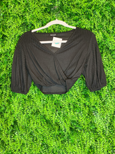 Load image into Gallery viewer, black crop top with tie shirt blouse | fall fashion | shop women's clothing clothes apparel gifts accessories jewelry online or in store at boerne la te da boutique | a favorite of locals and san antonio visitors too Edit alt text