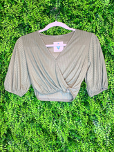 Load image into Gallery viewer, gray crop top with tie shirt blouse | fall fashion | shop women's clothing clothes apparel gifts accessories jewelry online or in store at boerne la te da boutique | a favorite of locals and san antonio visitors too Edit alt text