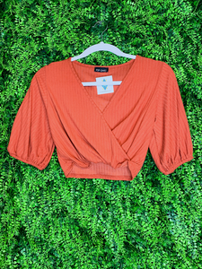 orange crop top with tie shirt blouse | fall fashion | shop women's clothing clothes apparel gifts accessories jewelry online or in store at boerne la te da boutique | a favorite of locals and san antonio visitors too Edit alt text