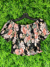 Load image into Gallery viewer, black floral crop top shirt blouse | shop women's clothing clothes apparel gifts accessories online or in store at boerne la te da boutique | a favorite of locals and san antonio visitors too