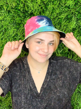 Load image into Gallery viewer, blue pink green tie-dye bucket hat fishing hat sun hat | shop women's clothing clothes apparel gifts accessories online or in store at boerne la te da boutique | a favorite of locals and san antonio visitors too
