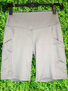 gray silver biker shorts undershorts bottoms summer outfit lounge wear pajamas with pockets high waist | shop women's clothing clothes apparel gifts accessories online or in store at boerne la te da boutique | a favorite of locals and san antonio visitors too