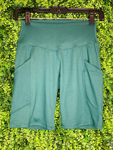 green biker shorts undershorts bottoms summer outfit lounge wear pajamas with pockets high waist | shop women's clothing clothes apparel gifts accessories online or in store at boerne la te da boutique | a favorite of locals and san antonio visitors too