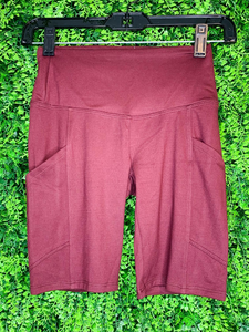 red berry burgundy mauve biker shorts undershorts bottoms summer outfit lounge wear pajamas with pockets high waist | shop women's clothing clothes apparel gifts accessories online or in store at boerne la te da boutique | a favorite of locals and san antonio visitors too