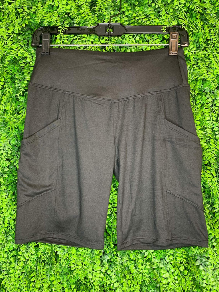 black biker shorts undershorts bottoms summer outfit lounge wear pajamas with pockets high waist | shop women's clothing clothes apparel gifts accessories online or in store at boerne la te da boutique | a favorite of locals and san antonio visitors too