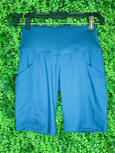 Load image into Gallery viewer, teal biker shorts undershorts bottoms summer outfit lounge wear pajamas with pockets high waist | shop women's clothing clothes apparel gifts accessories online or in store at boerne la te da boutique | a favorite of locals and san antonio visitors too