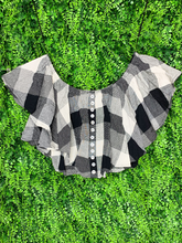 Load image into Gallery viewer, black and white buffalo plaid crop top with buttons and flutter sleeves shirt blouse | shop women's clothing clothes apparel gifts accessories online or in store at boerne la te da boutique | a favorite of locals and san antonio visitors too
