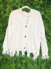 Load image into Gallery viewer, cream white ivory distressed cardigan top shirt sweater blouse | fall and winter fashion | shop women's clothing clothes apparel gifts accessories jewelry online or in store at boerne la te da boutique | a favorite of locals and san antonio visitors too | best boerne boutiques