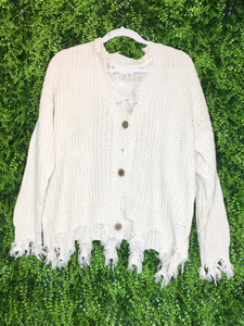 cream white ivory distressed cardigan top shirt sweater blouse | fall and winter fashion | shop women's clothing clothes apparel gifts accessories jewelry online or in store at boerne la te da boutique | a favorite of locals and san antonio visitors too | best boerne boutiques