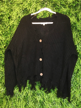 Load image into Gallery viewer, black distressed cardigan top shirt sweater blouse | fall and winter fashion | shop women's clothing clothes apparel gifts accessories jewelry online or in store at boerne la te da boutique | a favorite of locals and san antonio visitors too | best boerne boutiques
