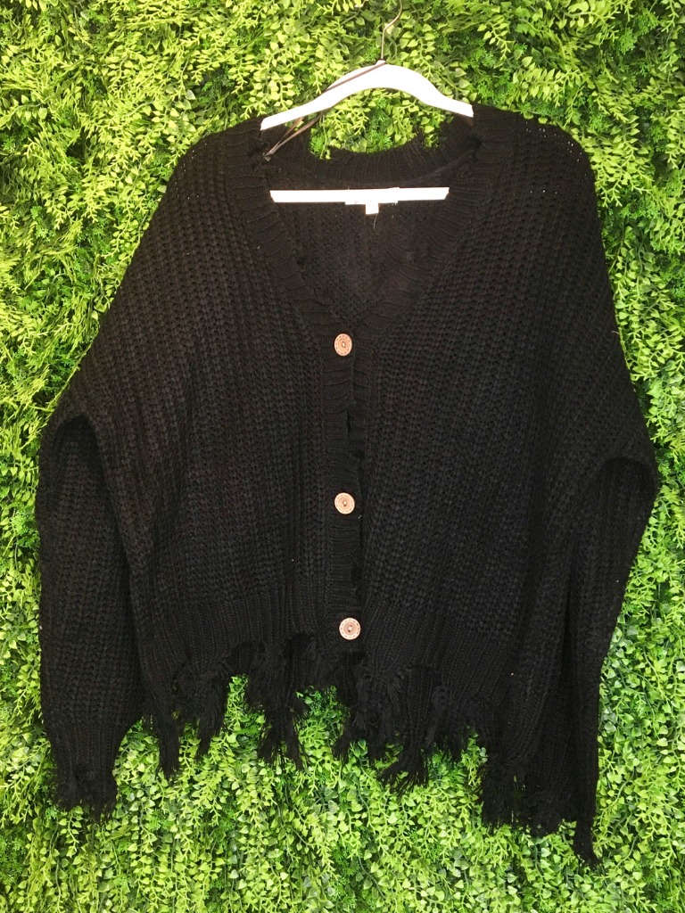 black distressed cardigan top shirt sweater blouse | fall and winter fashion | shop women's clothing clothes apparel gifts accessories jewelry online or in store at boerne la te da boutique | a favorite of locals and san antonio visitors too | best boerne boutiques
