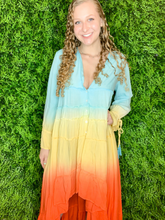 Load image into Gallery viewer, women's sunset chiffon ruffle dress tie dye beach cover-up | shop women's clothing clothes apparel gifts accessories online or in store at boerne la te da boutique | a favorite of locals and san antonio visitors too