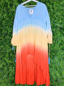 women's sunset chiffon ruffle dress tie dye beach cover-up | shop women's clothing clothes apparel gifts accessories online or in store at boerne la te da boutique | a favorite of locals and san antonio visitors too