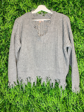 Load image into Gallery viewer, distressed destroyed fringe sweater sweatshirt top shirt blouse | fall and winter fashion | shop women's clothing clothes apparel gifts accessories jewelry online or in store at boerne la te da boutique | a favorite of locals and san antonio visitors too