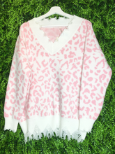 Load image into Gallery viewer, pink and white leopard print distressed sweater top shirt blouse | fall and winter fashion | shop women's clothing clothes apparel gifts accessories jewelry online or in store at boerne la te da boutique | a favorite of locals and san antonio visitors too | best boerne boutiques