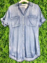 Load image into Gallery viewer, women's denim button-down shirt dress summer outfit | shop women's clothing clothes apparel gifts accessories online or in store at boerne la te da boutique | a favorite of locals and san antonio visitors too
