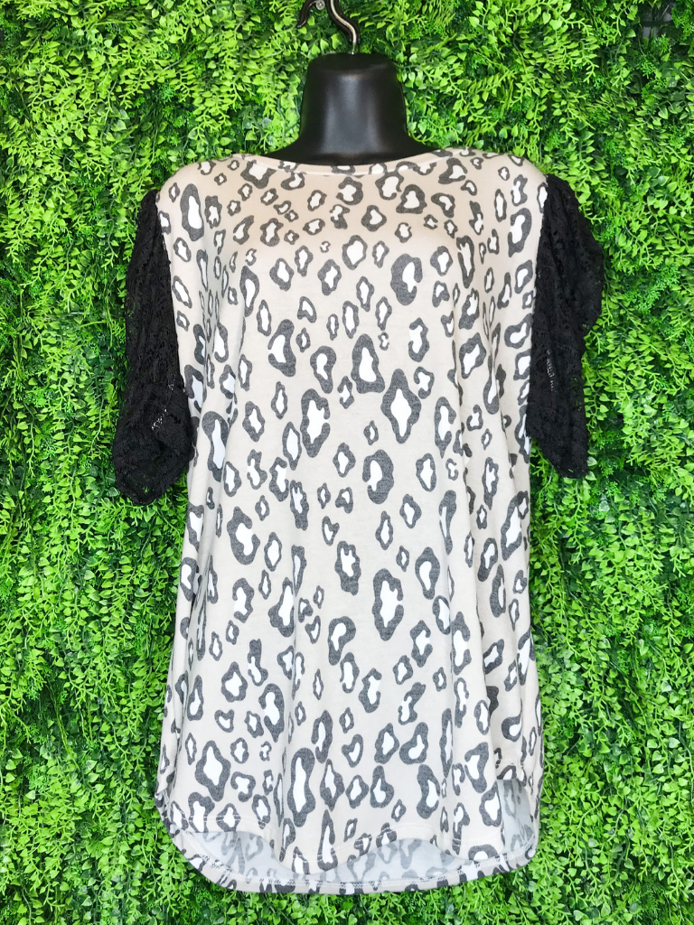 leopard lace sleeve top | shop women's and girls' clothing clothes apparel gifts accessories jewelry online or in store at boerne la te da boutique | a favorite of locals and san antonio visitors too | best boerne boutiques