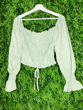 Load image into Gallery viewer, long sleeve sage green crop top shirt blouse | shop women's clothing clothes apparel gifts accessories online or in store at boerne la te da boutique | a favorite of locals and san antonio visitors too