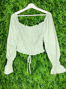 long sleeve sage green crop top shirt blouse | shop women's clothing clothes apparel gifts accessories online or in store at boerne la te da boutique | a favorite of locals and san antonio visitors too